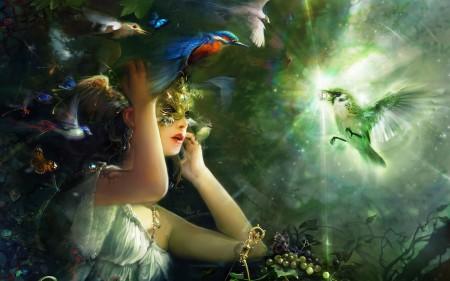 fantasy, czarodziejka, ptaki