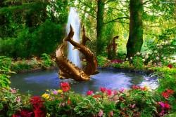 fontanna, magia, woda, czary, ryby
