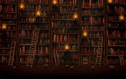 biblioteka, książki, woluminy