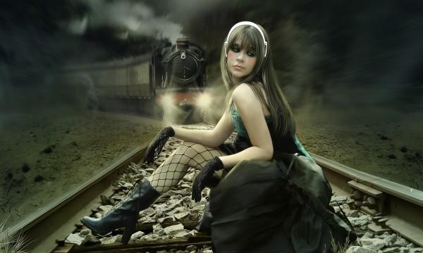 pociąg, kobieta, słuchawki, czarodziejka