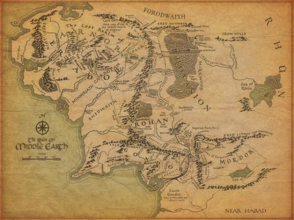 śródziemie, władca pierścieni, mapa